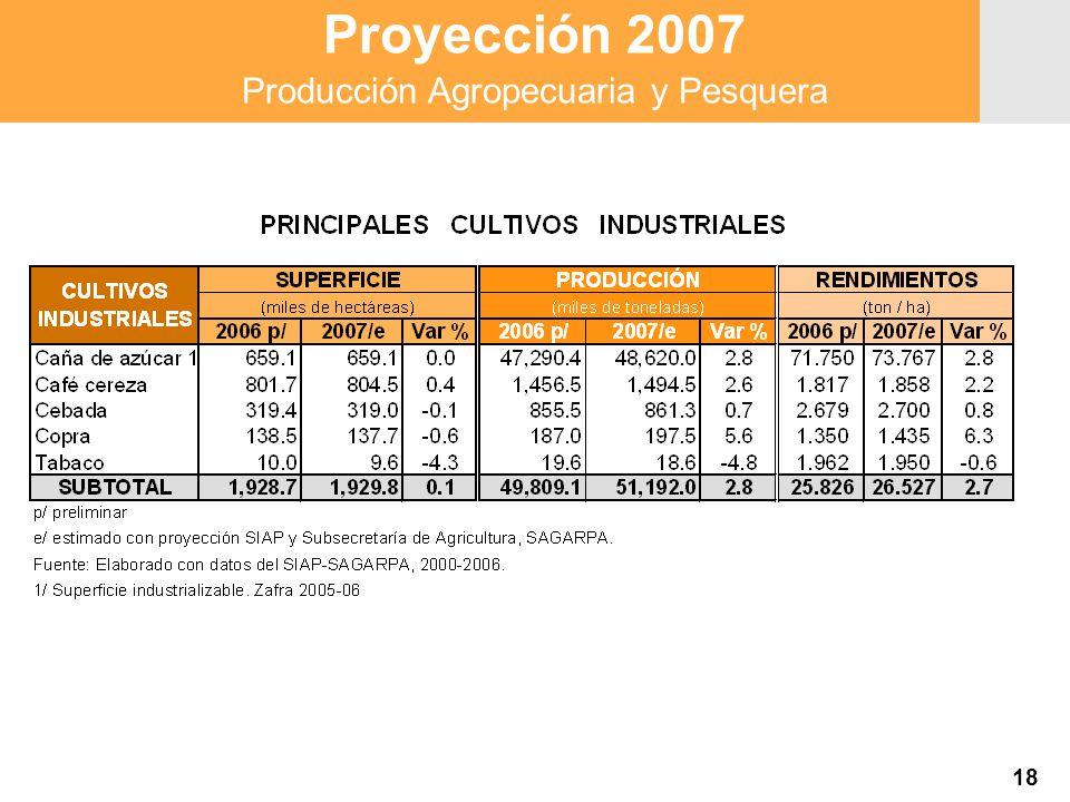 Proyección 2007 Producción Agropecuaria y Pesquera Proyección 2007 Producción Agropecuaria y Pesquera 18