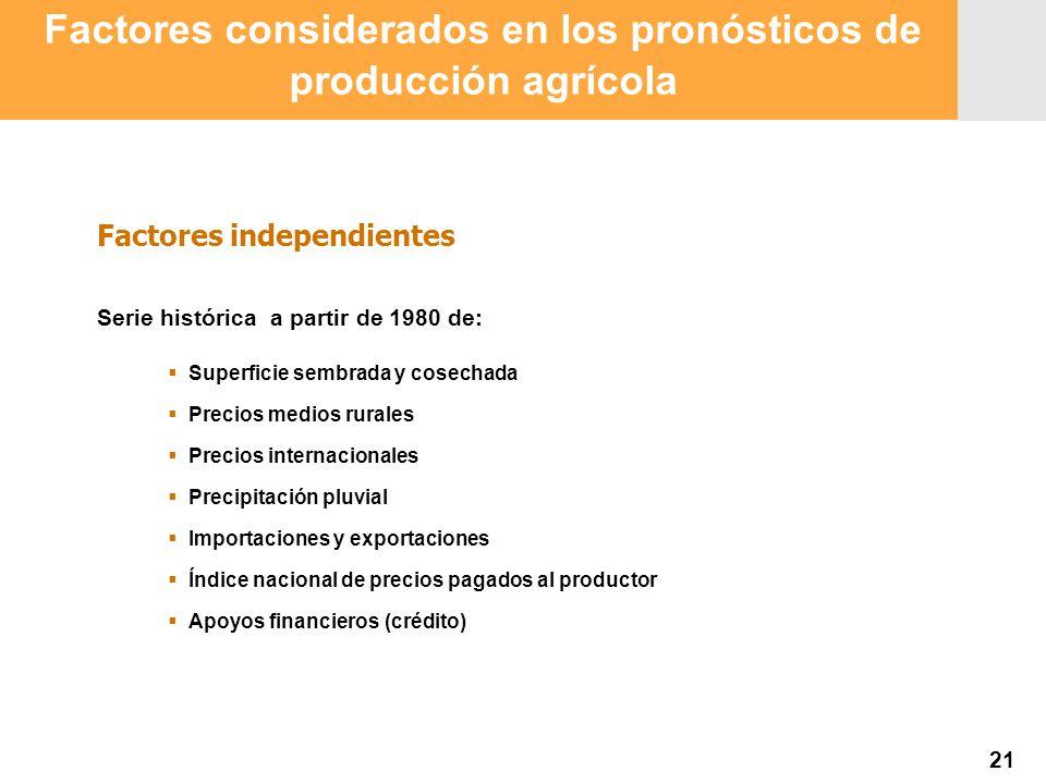 Proyección 2007 Producción Agropecuaria y Pesquera Proyección 2007 Producción Agropecuaria y Pesquera Factores considerados en los pronósticos de prod