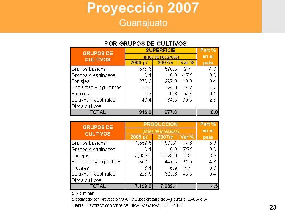 Proyección 2007 Producción Agropecuaria y Pesquera Proyección 2007 Producción Agropecuaria y Pesquera 23 Proyección 2007 Guanajuato
