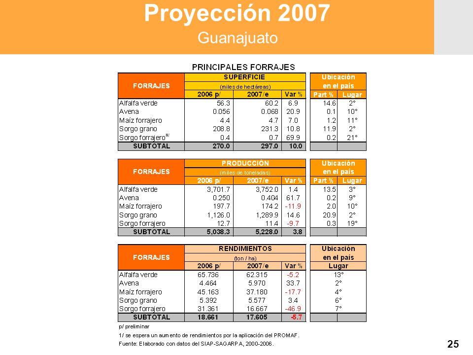 Proyección 2007 Producción Agropecuaria y Pesquera Proyección 2007 Producción Agropecuaria y Pesquera 25 Proyección 2007 Guanajuato