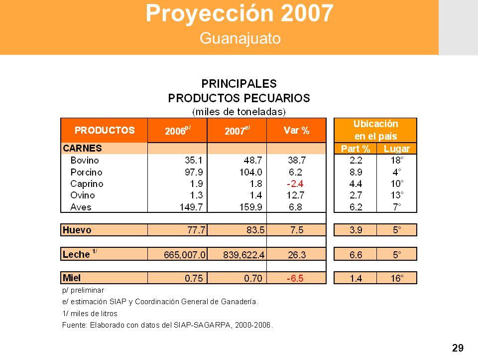 Proyección 2007 Producción Agropecuaria y Pesquera Proyección 2007 Producción Agropecuaria y Pesquera 29 Proyección 2007 Guanajuato