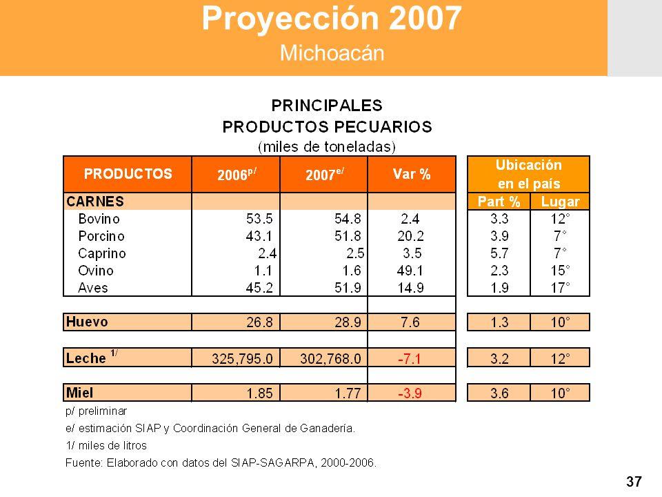 Proyección 2007 Producción Agropecuaria y Pesquera Proyección 2007 Producción Agropecuaria y Pesquera Proyección 2007 Michoacán 37