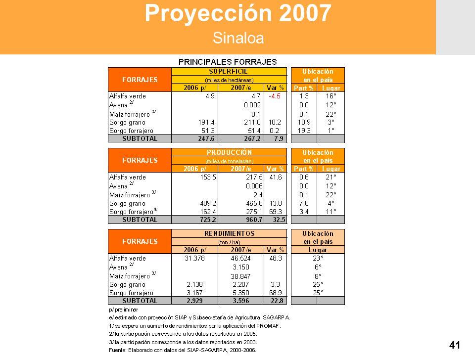 Proyección 2007 Producción Agropecuaria y Pesquera Proyección 2007 Producción Agropecuaria y Pesquera Proyección 2007 Sinaloa 41