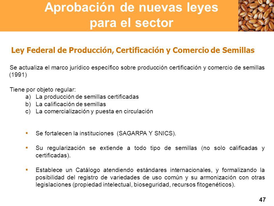 Proyección 2007 Producción Agropecuaria y Pesquera Proyección 2007 Producción Agropecuaria y Pesquera Ley Federal de Producción, Certificación y Comercio de Semillas Se actualiza el marco jurídico específico sobre producción certificación y comercio de semillas (1991) Tiene por objeto regular: a)La producción de semillas certificadas b)La calificación de semillas c)La comercialización y puesta en circulación Se fortalecen la instituciones (SAGARPA Y SNICS).