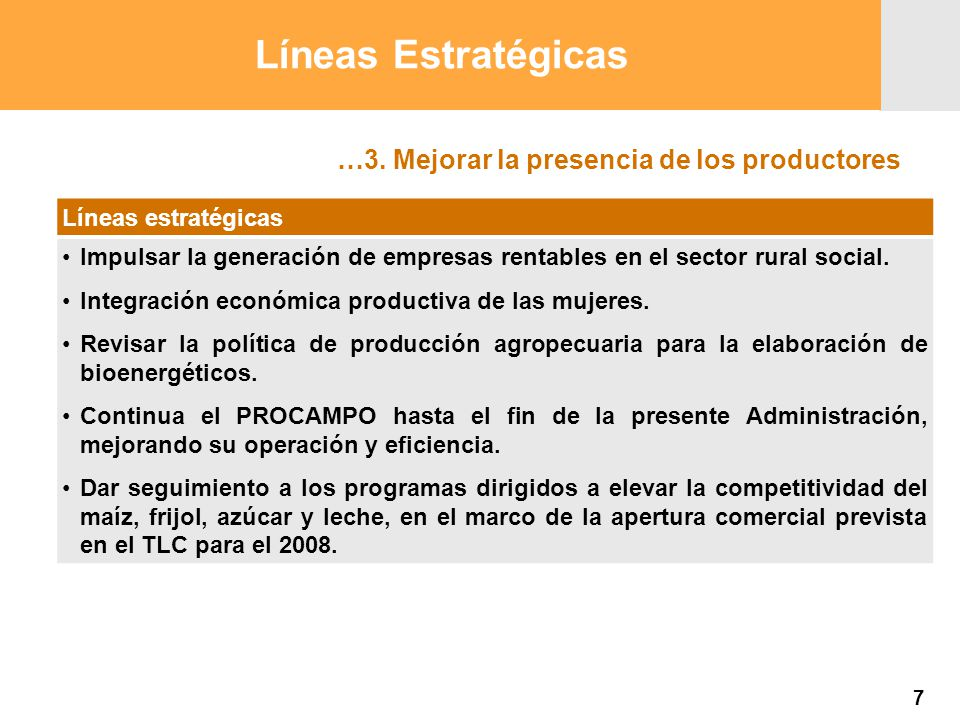 Proyección 2007 Producción Agropecuaria y Pesquera Proyección 2007 Producción Agropecuaria y Pesquera …3. Mejorar la presencia de los productores Líne