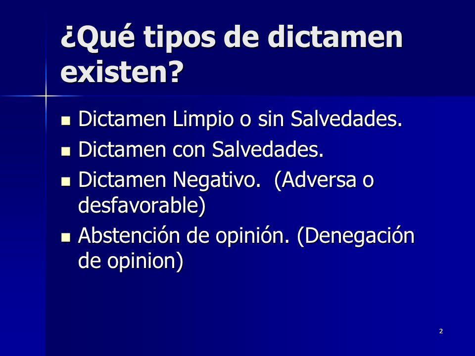2 ¿Qué tipos de dictamen existen? Dictamen Limpio o sin Salvedades. Dictamen Limpio o sin Salvedades. Dictamen con Salvedades. Dictamen con Salvedades
