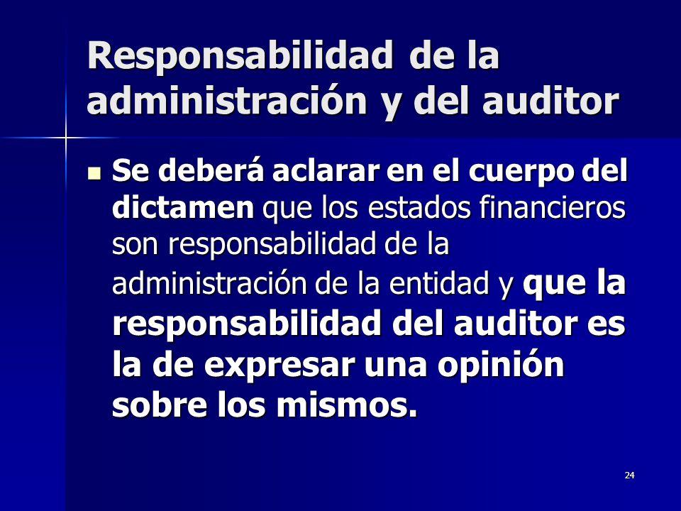 24 Responsabilidad de la administración y del auditor Se deberá aclarar en el cuerpo del dictamen que los estados financieros son responsabilidad de l