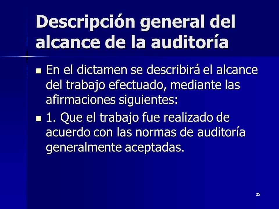 25 Descripción general del alcance de la auditoría En el dictamen se describirá el alcance del trabajo efectuado, mediante las afirmaciones siguientes