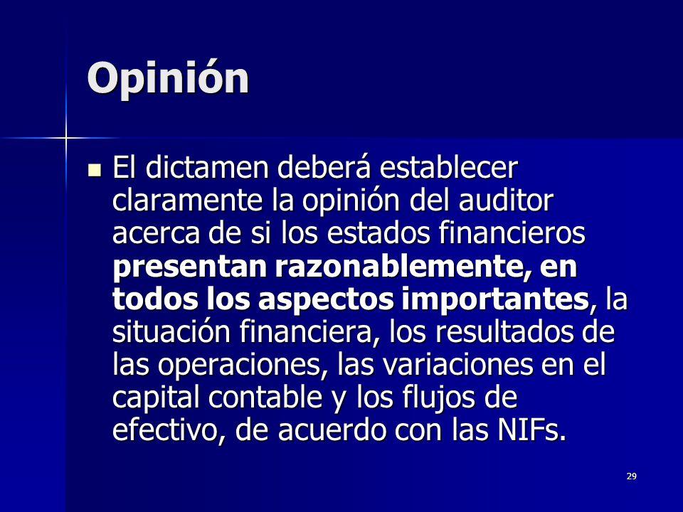 29 Opinión El dictamen deberá establecer claramente la opinión del auditor acerca de si los estados financieros presentan razonablemente, en todos los