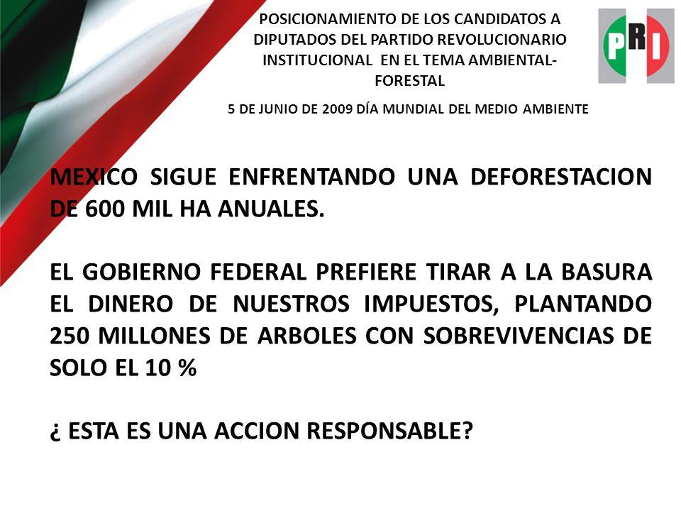 POSICIONAMIENTO DE LOS CANDIDATOS A DIPUTADOS DEL PARTIDO REVOLUCIONARIO INSTITUCIONAL EN EL TEMA AMBIENTAL- FORESTAL 5 DE JUNIO DE 2009 DÍA MUNDIAL DEL MEDIO AMBIENTE LOS DIPUTADOS PRIISTAS SABEMOS RECONOCER QUE NUESTROS BOSQUES Y SELVAS SON EL RESULTADO DE MILLONES DE AÑOS DE EVOLUCION, POR LO QUE PROMOVEREMOS LA APLICACIÓN DE RECURSO SUFICIENTES PARA FORTALECER LA SILVICULTURA COMUNITARIA, BAJO EL ENTENDIDO DE QUE BOSQUE APROVECHADO SUSTENTABLEMENTE EN BENEFICIO DE SUS LEGITIMOS DUEÑOS, ES BOSQUE QUE PERMANECE.