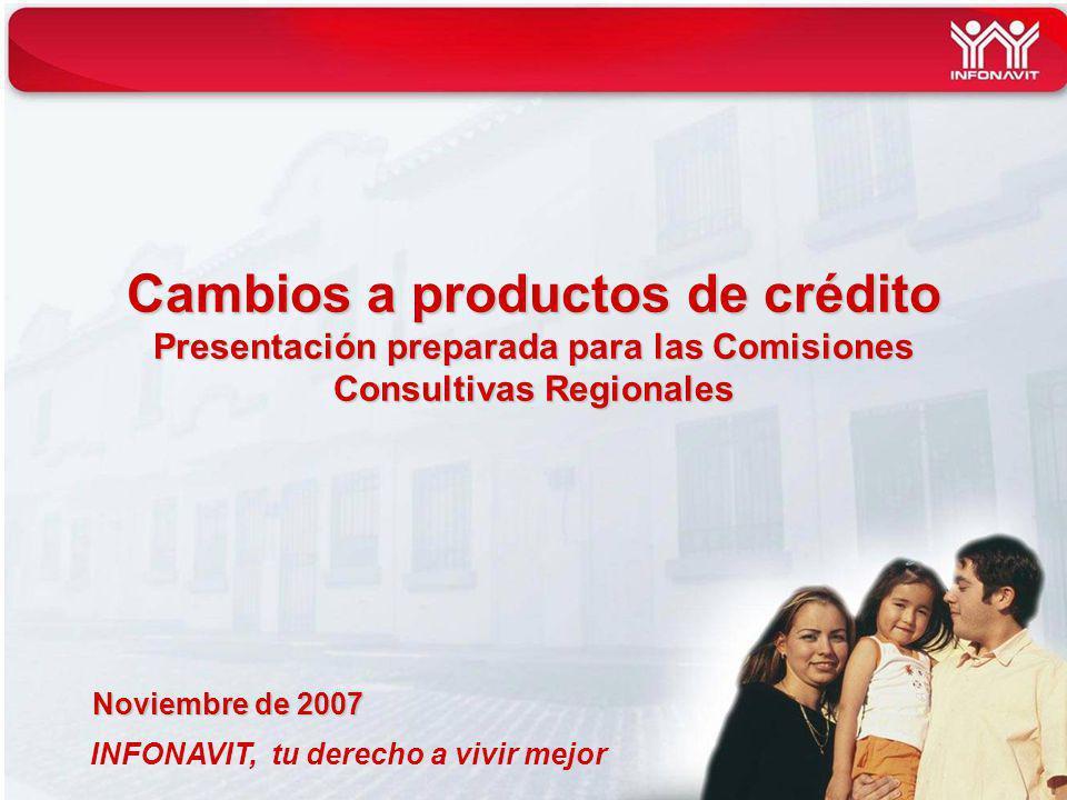 INFONAVIT, tu derecho a vivir mejor Cambios a productos de crédito Presentación preparada para las Comisiones Consultivas Regionales Noviembre de 2007