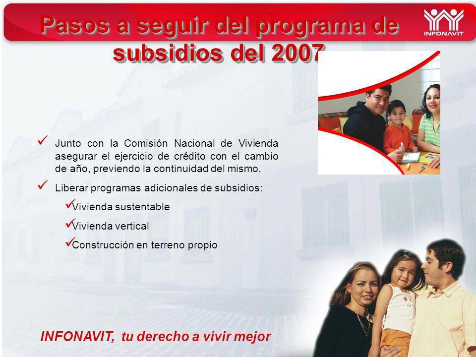 INFONAVIT, tu derecho a vivir mejor Pasos a seguir del programa de subsidios del 2007 Junto con la Comisión Nacional de Vivienda asegurar el ejercicio de crédito con el cambio de año, previendo la continuidad del mismo.