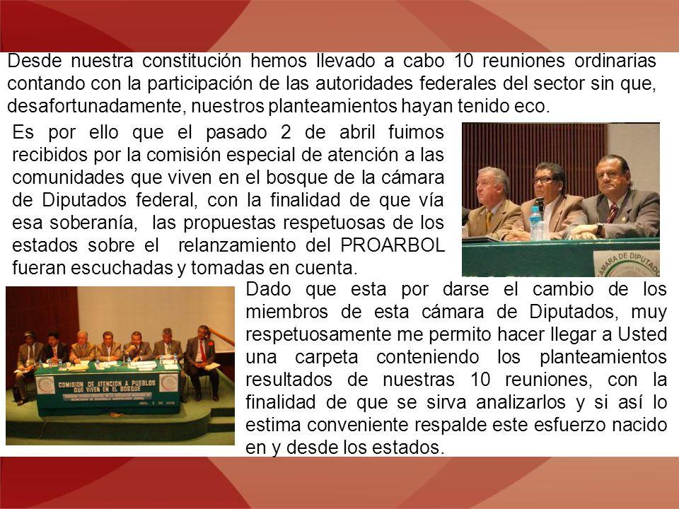 Desde nuestra constitución hemos llevado a cabo 10 reuniones ordinarias contando con la participación de las autoridades federales del sector sin que,
