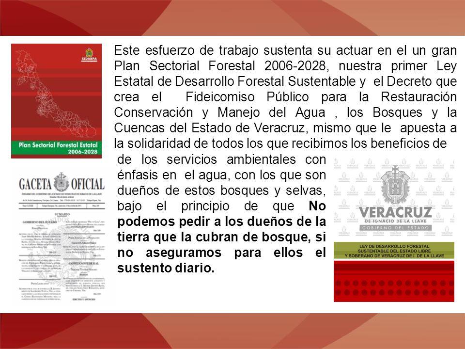 Este esfuerzo de trabajo sustenta su actuar en el un gran Plan Sectorial Forestal 2006-2028, nuestra primer Ley Estatal de Desarrollo Forestal Sustentable y el Decreto que crea el Fideicomiso Público para la Restauración Conservación y Manejo del Agua, los Bosques y la Cuencas del Estado de Veracruz, mismo que le apuesta a la solidaridad de todos los que recibimos los beneficios de de los servicios ambientales con énfasis en el agua, con los que son dueños de estos bosques y selvas, bajo el principio de que No podemos pedir a los dueños de la tierra que la cubran de bosque, si no aseguramos para ellos el sustento diario.
