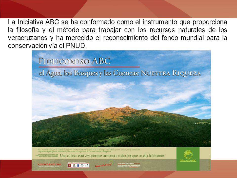 La Iniciativa ABC se ha conformado como el instrumento que proporciona la filosofía y el método para trabajar con los recursos naturales de los veracruzanos y ha merecido el reconocimiento del fondo mundial para la conservación vía el PNUD.