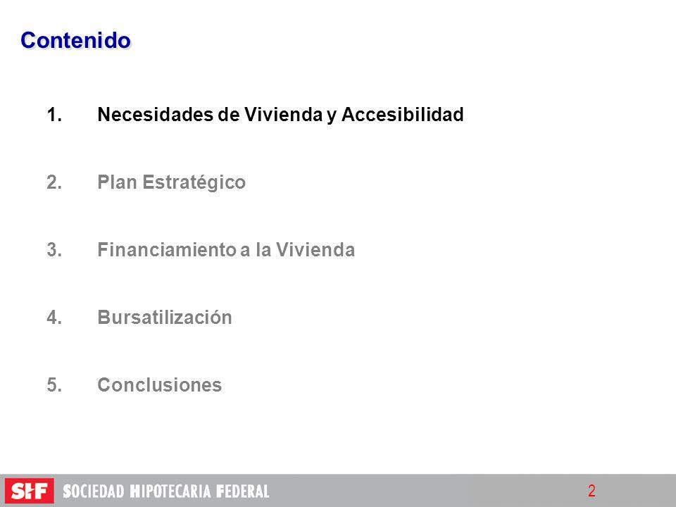 2 Contenido 1. 1.Necesidades de Vivienda y Accesibilidad 2. 2.Plan Estratégico 3. 3.Financiamiento a la Vivienda 4. 4.Bursatilización 5. 5.Conclusione