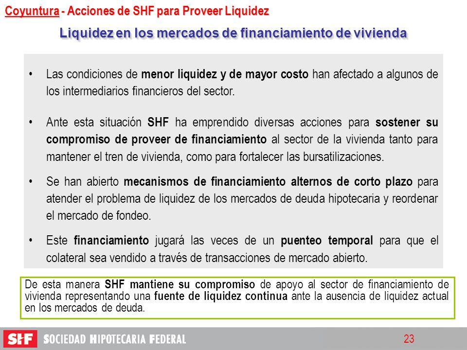 23 Las condiciones de menor liquidez y de mayor costo han afectado a algunos de los intermediarios financieros del sector. Ante esta situación SHF ha