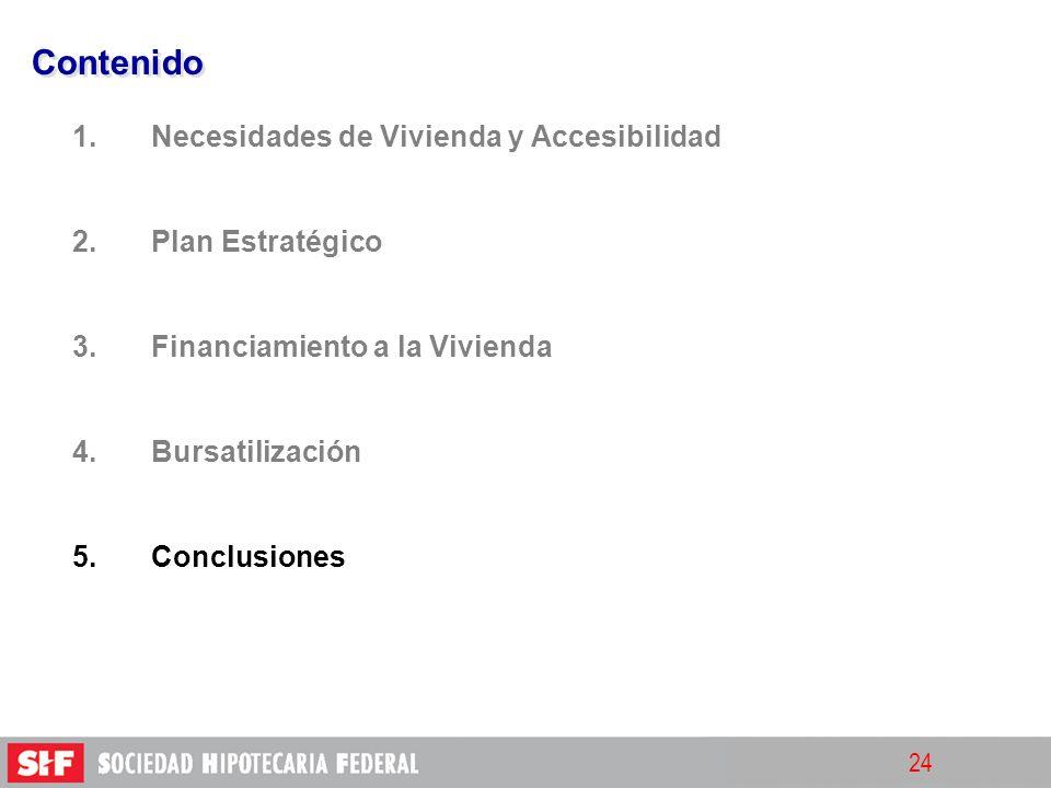 24 Contenido 1. 1.Necesidades de Vivienda y Accesibilidad 2. 2.Plan Estratégico 3. 3.Financiamiento a la Vivienda 4. 4.Bursatilización 5. 5.Conclusion