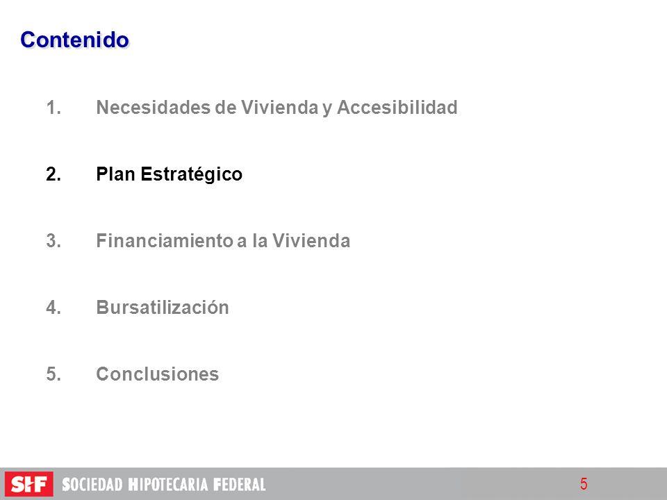 5 Contenido 1. 1.Necesidades de Vivienda y Accesibilidad 2. 2.Plan Estratégico 3. 3.Financiamiento a la Vivienda 4. 4.Bursatilización 5. 5.Conclusione