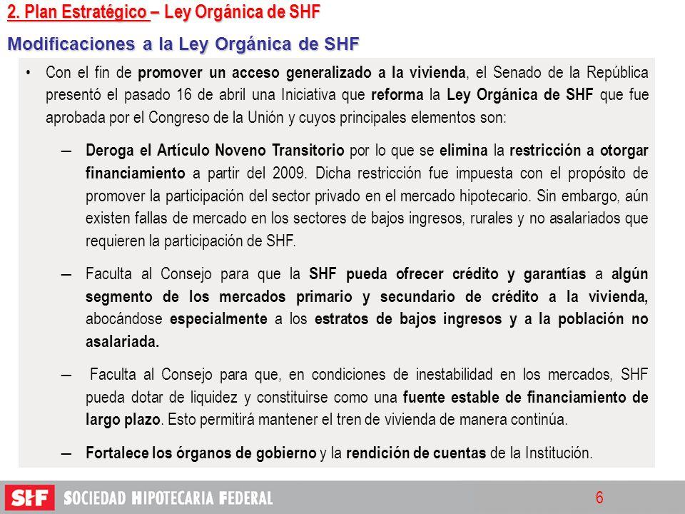 6 Modificaciones a la Ley Orgánica de SHF Con el fin de promover un acceso generalizado a la vivienda, el Senado de la República presentó el pasado 16