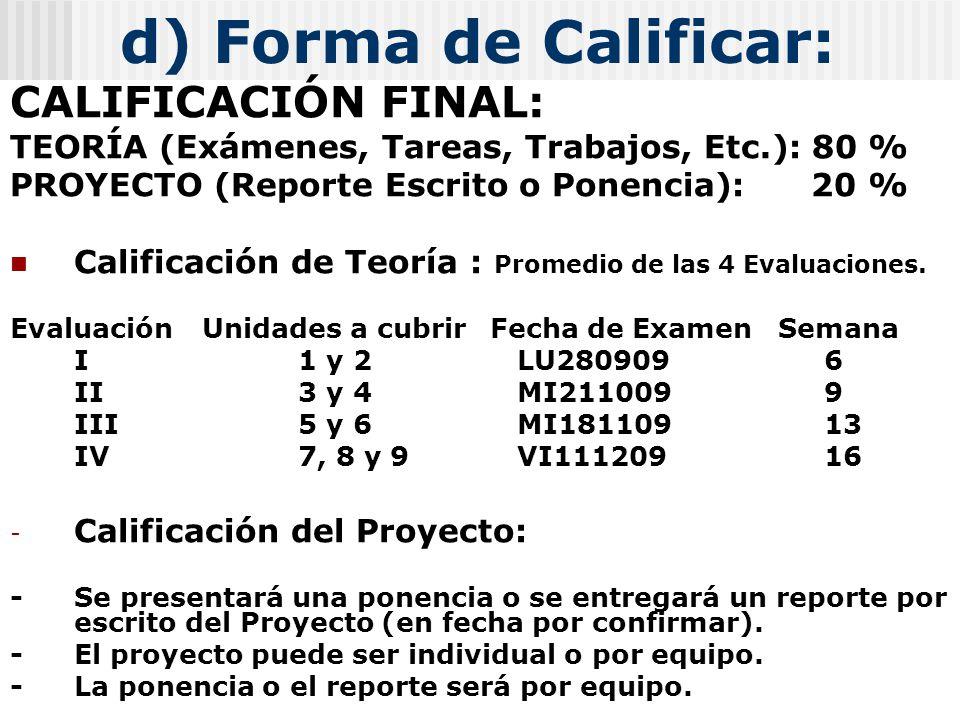 d) Forma de Calificar: CALIFICACIÓN FINAL: TEORÍA (Exámenes, Tareas, Trabajos, Etc.): 80 % PROYECTO (Reporte Escrito o Ponencia): 20 % Calificación de Teoría : Promedio de las 4 Evaluaciones.