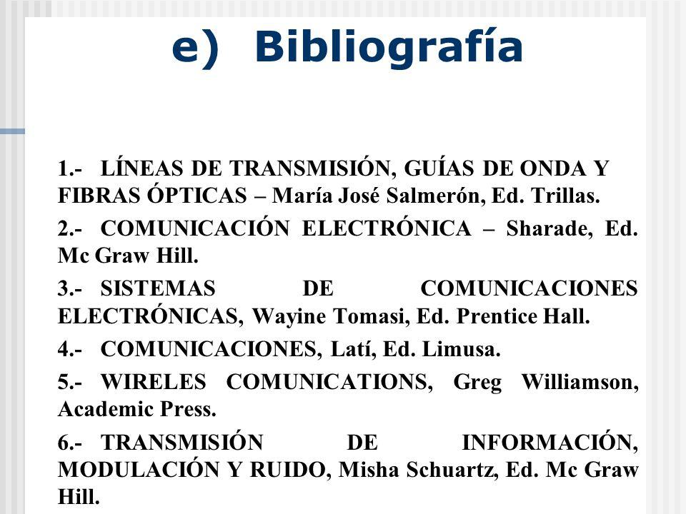 e) Bibliografía 1.-LÍNEAS DE TRANSMISIÓN, GUÍAS DE ONDA Y FIBRAS ÓPTICAS – María José Salmerón, Ed.