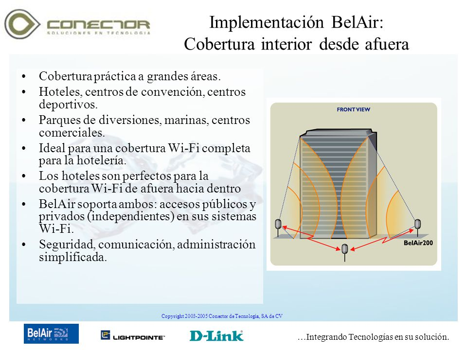 …Integrando Tecnologías en su solución. Copyright 2003-2005 Conector de Tecnología, SA de CV Implementación BelAir: Cobertura interior desde afuera Co