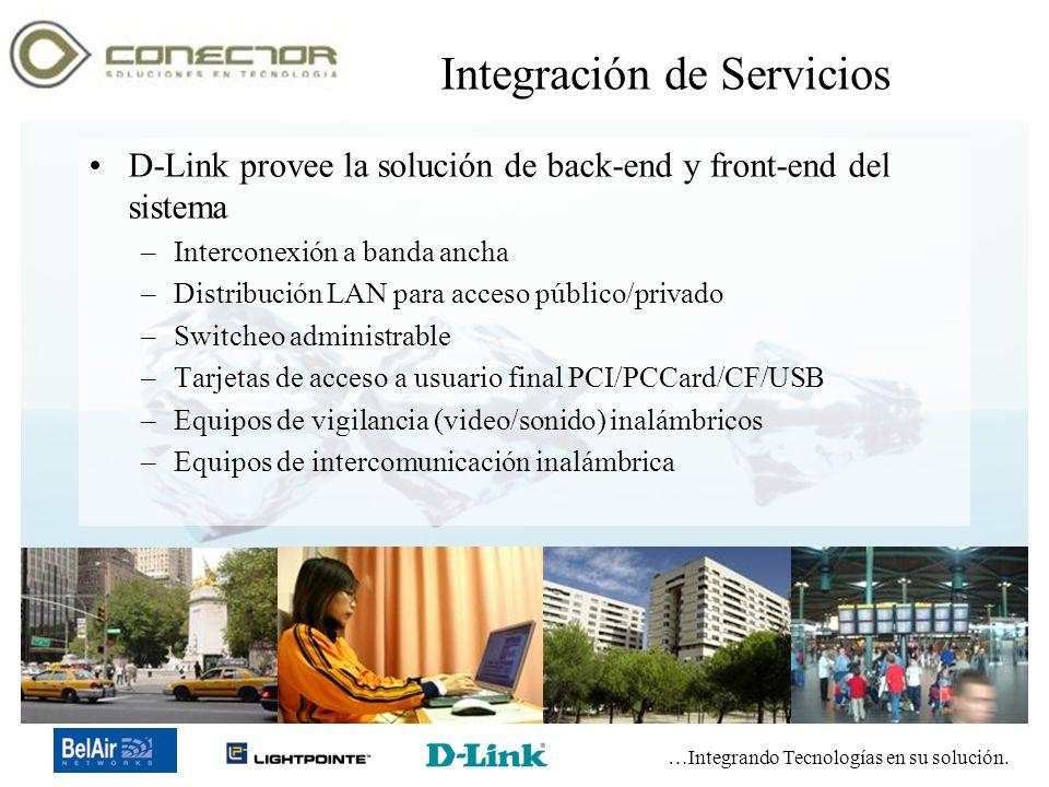…Integrando Tecnologías en su solución. Copyright 2003-2005 Conector de Tecnología, SA de CV Integración de Servicios D-Link provee la solución de bac