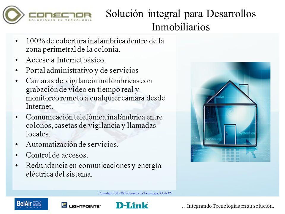 …Integrando Tecnologías en su solución. Copyright 2003-2005 Conector de Tecnología, SA de CV Solución integral para Desarrollos Inmobiliarios 100% de