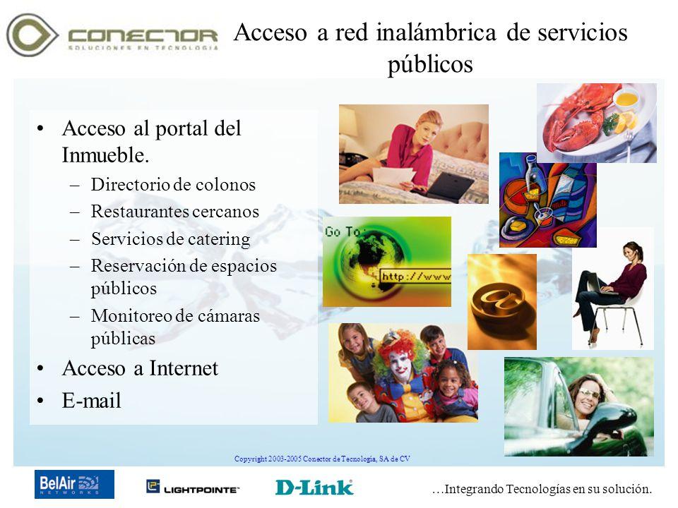…Integrando Tecnologías en su solución. Copyright 2003-2005 Conector de Tecnología, SA de CV Acceso a red inalámbrica de servicios públicos Acceso al