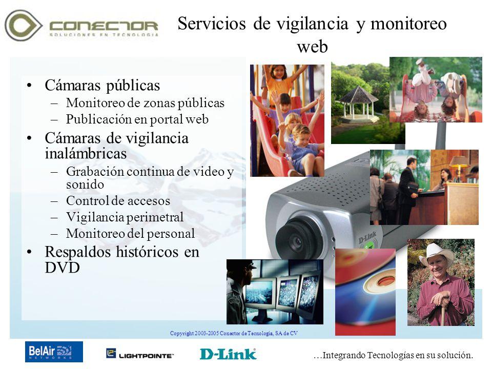 …Integrando Tecnologías en su solución. Copyright 2003-2005 Conector de Tecnología, SA de CV Servicios de vigilancia y monitoreo web Cámaras públicas