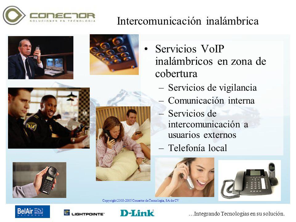 …Integrando Tecnologías en su solución. Copyright 2003-2005 Conector de Tecnología, SA de CV Intercomunicación inalámbrica Servicios VoIP inalámbricos