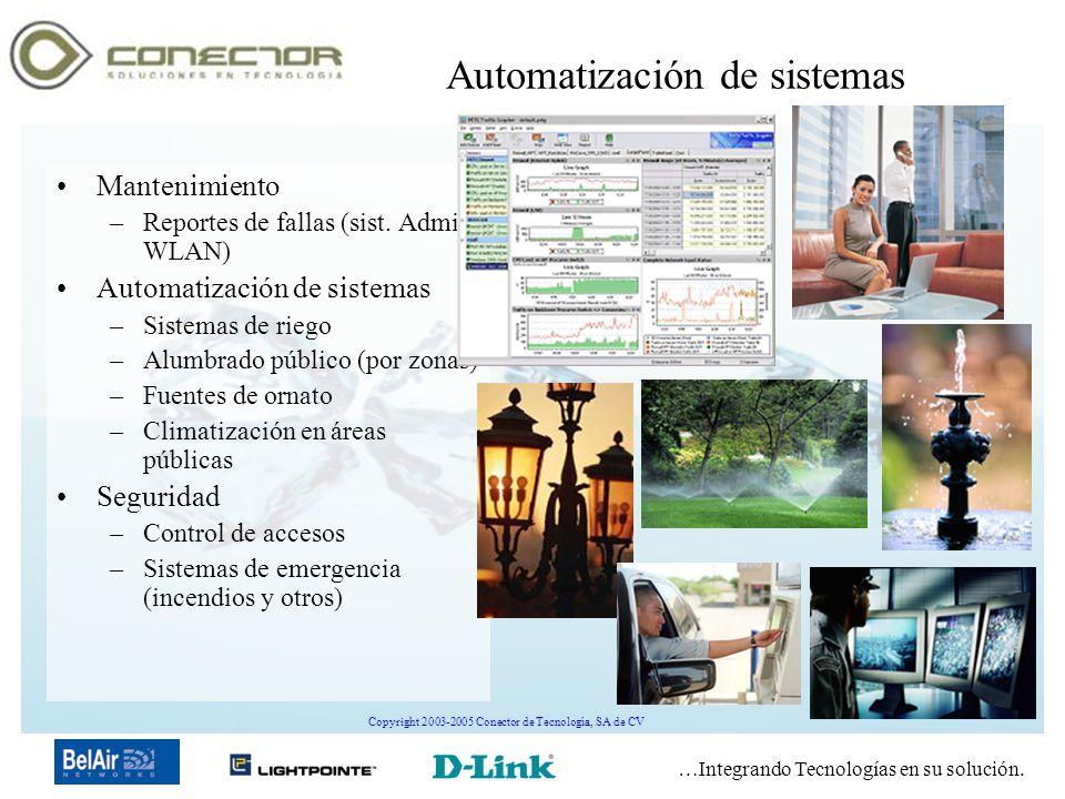 …Integrando Tecnologías en su solución. Copyright 2003-2005 Conector de Tecnología, SA de CV Automatización de sistemas Mantenimiento –Reportes de fal
