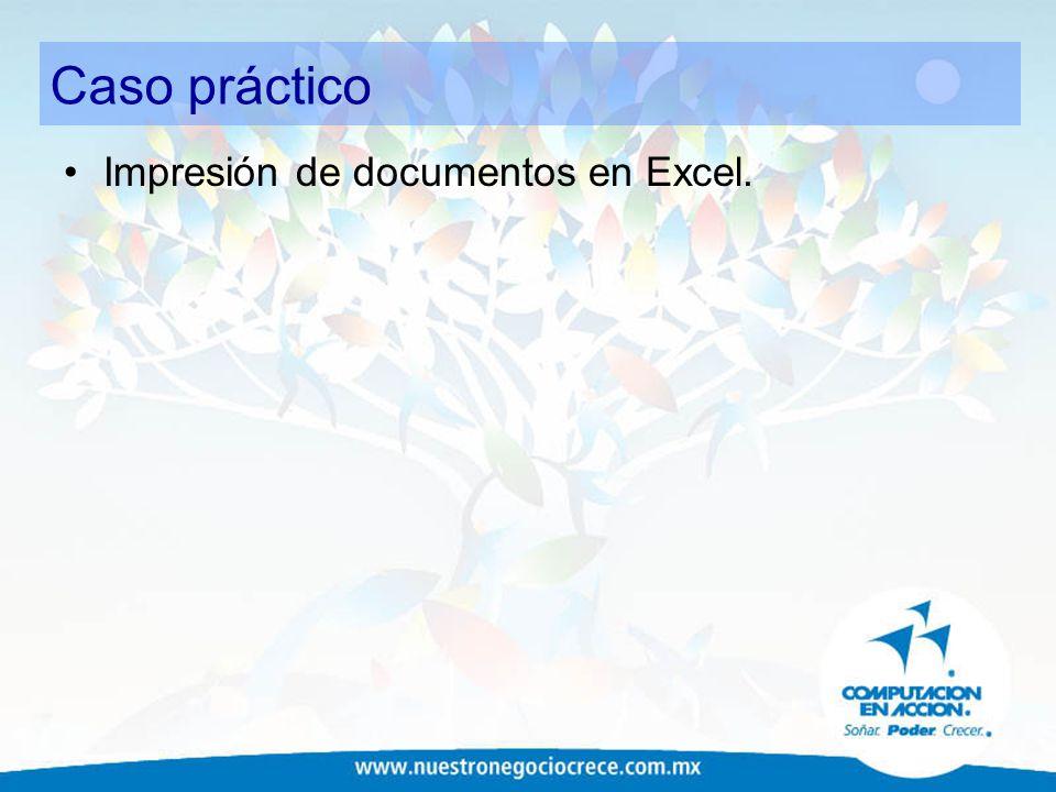 Caso práctico Impresión de documentos en Excel.