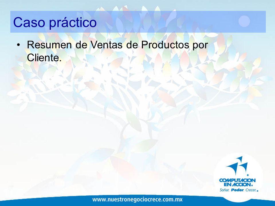 Caso práctico Resumen de Ventas de Productos por Cliente.