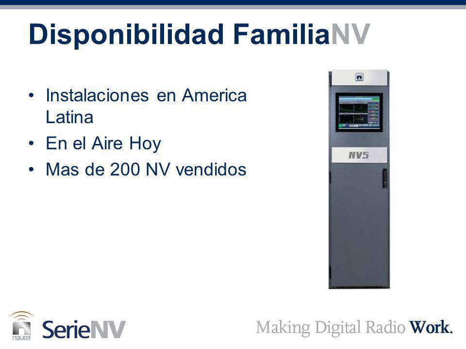 Disponibilidad FamiliaNV Instalaciones en America Latina En el Aire Hoy Mas de 200 NV vendidos