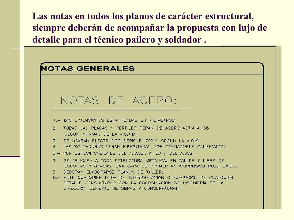 Arq. José Ma. Cruz García 5 Las notas en todos los planos de carácter estructural, siempre deberán de acompañar la propuesta con lujo de detalle para