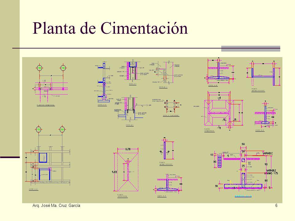 Arq. José Ma. Cruz García 6 Planta de Cimentación