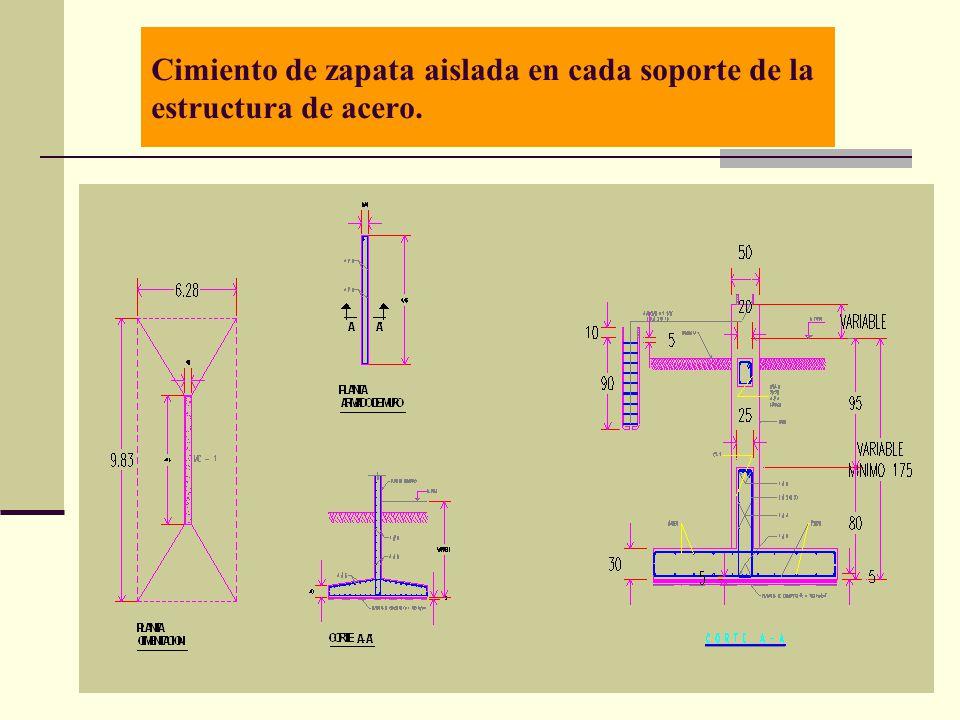 Arq. José Ma. Cruz García 7 Cimiento de zapata aislada en cada soporte de la estructura de acero.