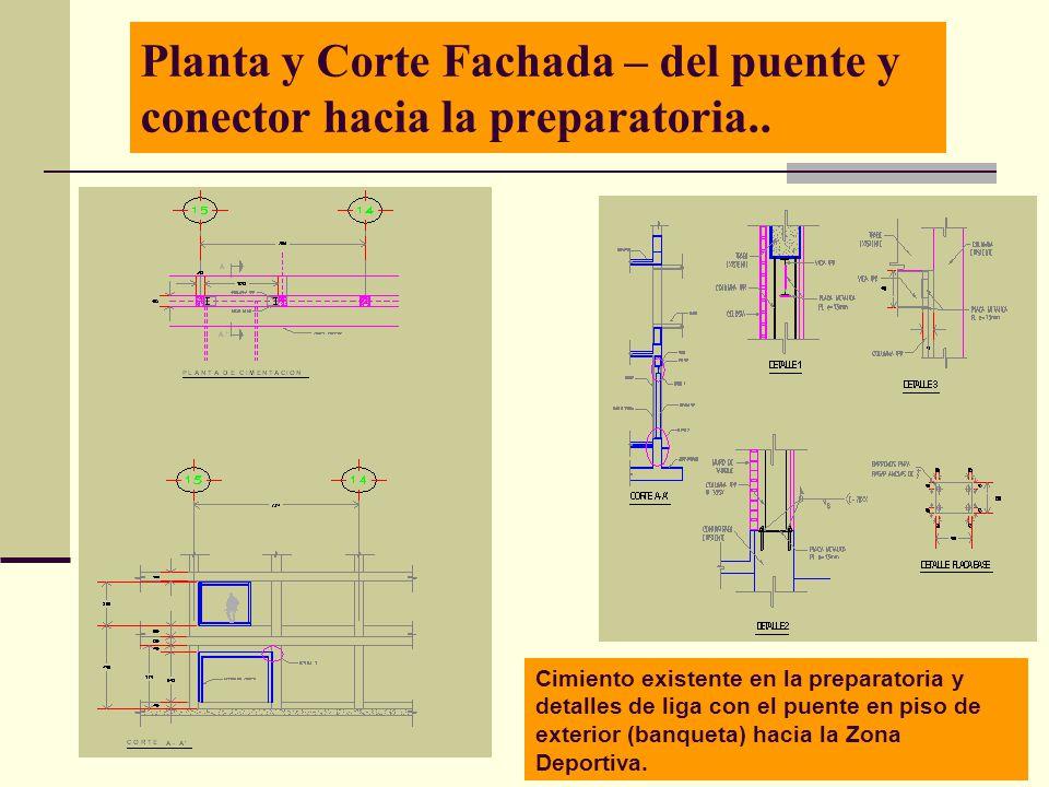 Arq. José Ma. Cruz García 8 Planta y Corte Fachada – del puente y conector hacia la preparatoria.. Cimiento existente en la preparatoria y detalles de