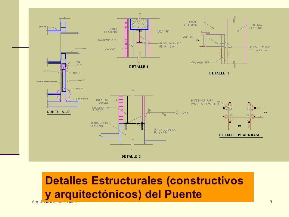 Arq. José Ma. Cruz García 9 Detalles Estructurales (constructivos y arquitectónicos) del Puente