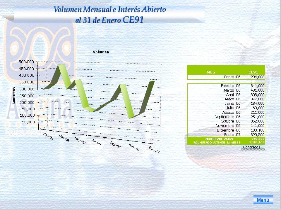 Volumen Mensual e Interés Abierto al 31 de Enero CE91 Menú