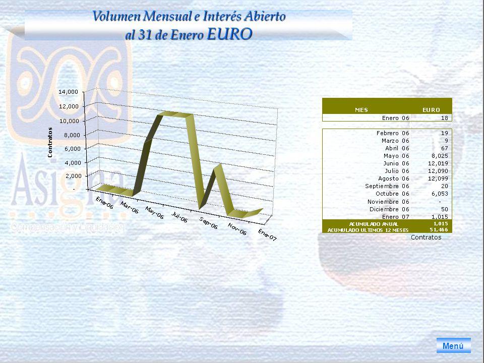 Volumen Mensual e Interés Abierto al 31 de Enero EURO Menú Contratos