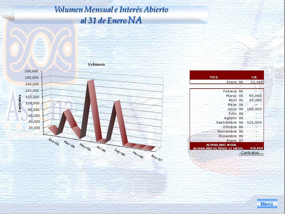 Menú Volumen Mensual e Interés Abierto al 31 de Enero NA