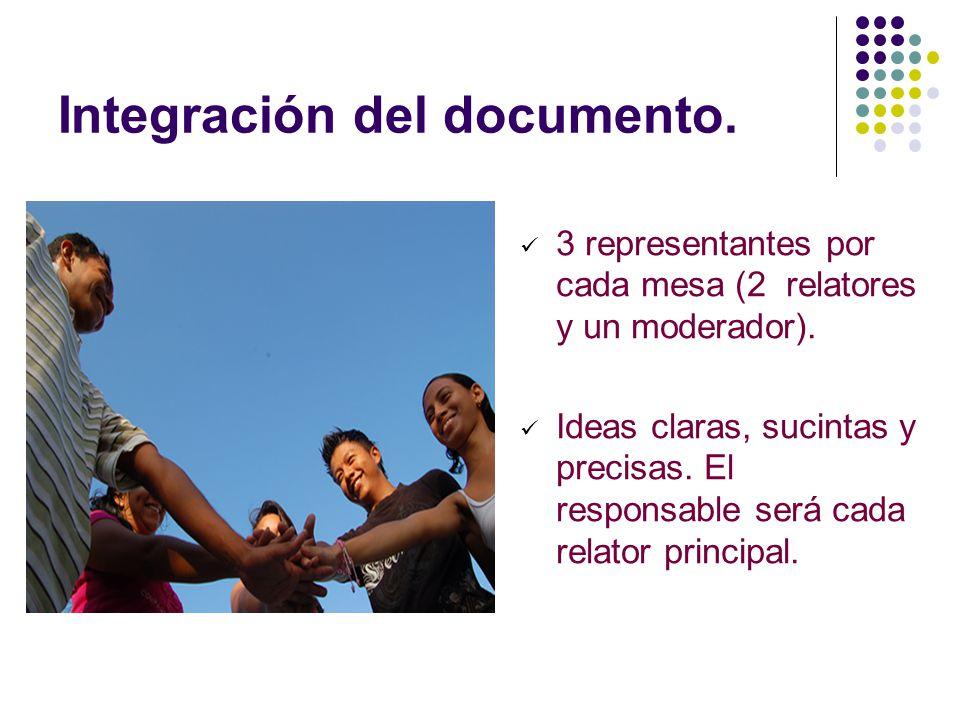 Integración del documento. 3 representantes por cada mesa (2 relatores y un moderador). Ideas claras, sucintas y precisas. El responsable será cada re
