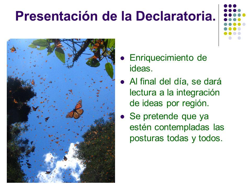 Presentación de la Declaratoria. Enriquecimiento de ideas. Al final del día, se dará lectura a la integración de ideas por región. Se pretende que ya