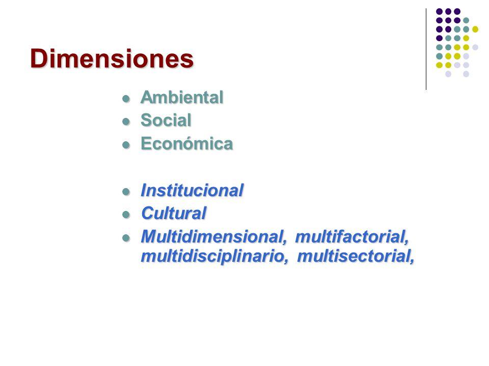 Dimensiones Ambiental Ambiental Social Social Económica Económica Institucional Institucional Cultural Cultural Multidimensional, multifactorial, mult