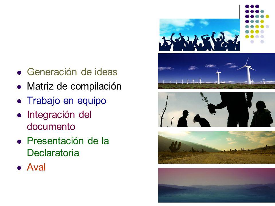 Generación de ideas Matriz de compilación Trabajo en equipo Integración del documento Presentación de la Declaratoria Aval