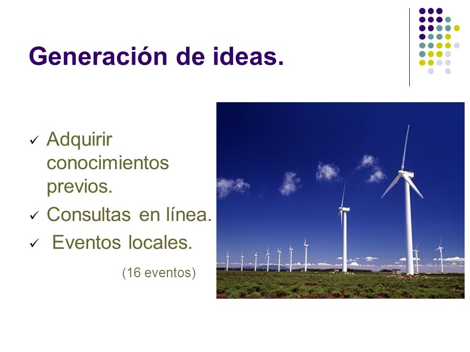 Generación de ideas. Adquirir conocimientos previos. Consultas en línea. Eventos locales. (16 eventos)