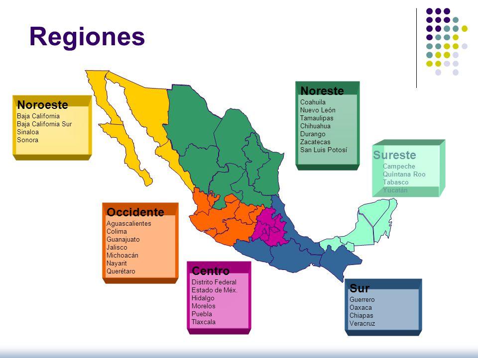 Noreste Coahuila Nuevo León Tamaulipas Chihuahua Durango Zacatecas San Luis Potosí Sureste Campeche Quintana Roo Tabasco Yucatán Sur Guerrero Oaxaca C